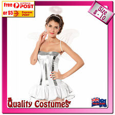 Womens Silver Angel Fairy Tale Fancy Dress Costume with Wings & Halo size 8-10