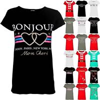 Womens Ladies Valentines Love Pullover Gold Glitter Guilty Stripes T Shirt Top