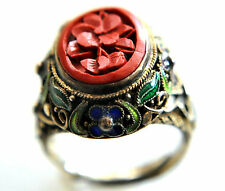 Antique Chinese Solid Silver and Cinnabar Filigree Floral Ring Size 5.5