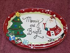"FITZ & FLOYD HOLIDAY/CHRISTMAS PLATE ~~ ""Merry and Bright"" ~~ FREE SHIPPING!!"