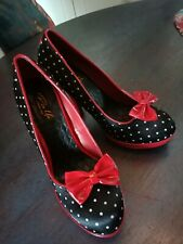 Pin Up Couture black and red shoes with white spots with red bows in size 39
