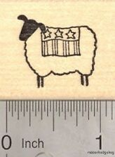 4th of July Lamb Rubber Stamp, Sheep with Flag fourth of July D17509 WM
