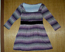 VINTAGE Retro Tunika Bluse Shirt Gr.38 Punkte lila Stretch 3/4 Arm Empire   #5