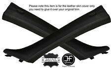 BLACK STITCH 2X A POST PILLAR LEATHER COVERS FITS BMW 3 SERIES E90 E91 05-12