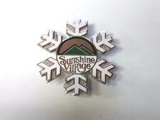 Vtg Sunshine Village Ski Resort Souvenir Lapel Pin Canada White Snowflake