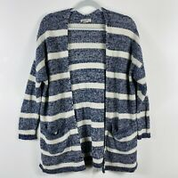 Lucky Brand Size Small Striped Knit Cardigan Sweater Navy Blue Ivory Cream
