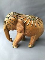 Unusual Wooden Wood Carved Elephant Raised Decoration Shiny Jewel Detail