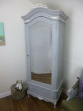 French Charroux Single Armoire Wardrobe In Mercury Grey (Large) - Shabby Chic
