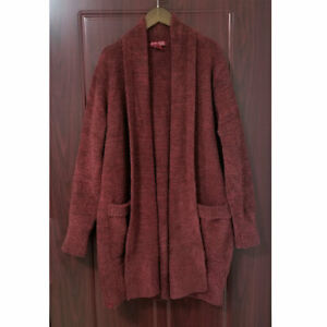 New Barefoot Dreams CozyChic Cali Cardigan Sweater Maroon Red Soft L