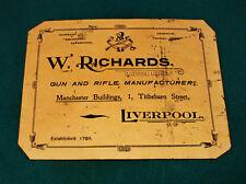 W Richards gunmaker riproduzione carta Gun Case Accessori etichetta