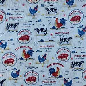 Farm Scenic Animals ivory fabric by Robert Kaufman - CLEARANCE!