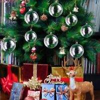 12Pcs Clear Plastic Christmas Craft Baubles Fillable Ball Xmas Tree Home Decor