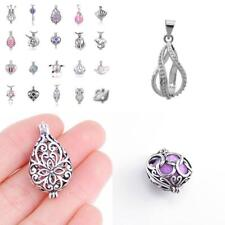 10Pcs White Gold Plated Pearl Bead Cage Locket Pendants For Jewelry Making /Esse
