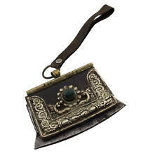 Ancien Briquet tibétain à silex cuir de yak fer turquoise Himalaya Tibet 25705