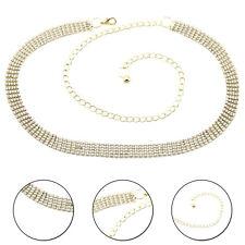 Ladies Gold Belt 5 Row Waist Chain Diamante Rhinestone Diamond for Party Dress