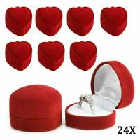 24x Classic Heart-shaped Velvet Ring Earring Jewelry Display Box Case Red Gift