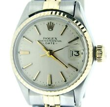 Vintage Rolex Date Ladies 2Tone 14K Yellow Gold & Steel Watch Silver Dial 6517