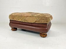 Vintage Klaussner Chesterfield Aged Brown Leather & Fabric large Footstool