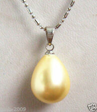 Pearl 925 Silver Teardrop Pendant Necklace Aaa+ 12x16mm Yellow South Sea Shell