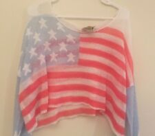 Wild Fox White Label Sweater Crop Flag America Patriotic Long Sleeve Large NWT