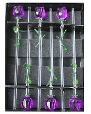 "6 x 12"" Glass Lavender Purple Rose Flowers with Green Leaves, Mothers Day Gift!"