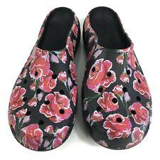 Crocs Freesail Clogs Womens Size 8 Mules Black & Roses