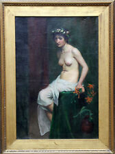 SARA PAGE WELLS BRITISH PRE-RAPHAELITE OIL PAINTING ART WOMAN BEAUTY 1855-1943
