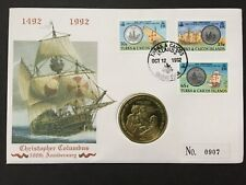 1992 TURKS & CAICOS - COLUMBUS ANNIVERSARY 5 CROWN COIN COVER - (CH15)