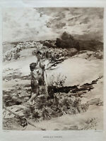 Jean Charles CAZIN gravure eau forte etching Agar Et Ismael