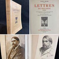 🌓PAUL ADAM Lettres de Malaisie gravures Maurice DE BECQUE portrait Paul BAUDIER