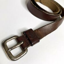Vintage NAUTICA Brown Leather Men's Belt • Size 36 • Rugged Distressed