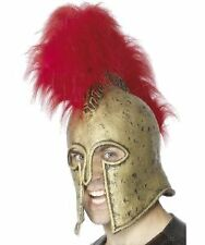 Gold Roman Warrior Helmet Red Plume Armour Adults Fancy Dress Accessory