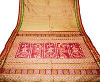 Vintage Saree Pure Silk Hand Woven Odisha Ikat Patola Indian Sari Fabric 5Yard
