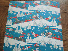 Vtg 50's NOVELTY Santa Pulling Reindeer in Car Gift Wrap Wrapping Paper Sheet