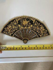 Antique Damascene Toledo Fan Decorative Inlaid 18/24 Carat Gold
