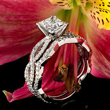 2.32 CT PRINCESS CUT REAL DIAMOND ENGAGEMENT RING 14K WHITE GOLD ENHANCED