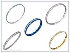 Fine Quality Stainless Steel Bangles with CZ - USA Seller