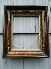 Deep Antique Victorian Carved Eastlake Picture Frame Silver Gold Gilt Liner 8~10