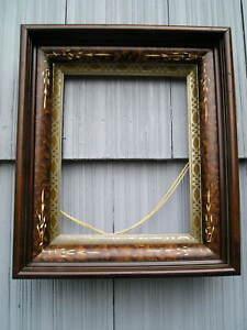 Deep Antique Victorian Carved Eastlake Picture Frame Silver Gold Gilt Liner 8~10