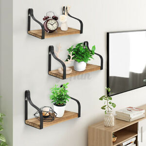 3X Industrial Metal Wall Hanging Shelf Storage Shelves Wood Display Rack  R!