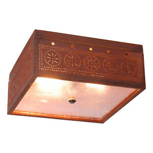 Irvin's Country Tinware Square Ceiling Light with Chisel in Rustic Tin