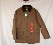NWT Orvis Barn Jacket M Tobacco Brown Quilt Lining Corduroy Collar Button Front