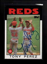 1986 TOPPS #85 TONY PEREZ AUTHENTIC ON CARD AUTOGRAPH SIGNATURE AU6117