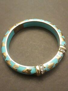 ANGELIQUE de PARIS Sterling Silver CZ Enamel Animal Print Blue Bangle Bracelet