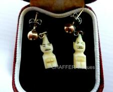 Hand Carved INUIT Billiken Charm and GOLD Earrings 1950s