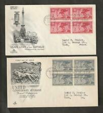 Civil War USPS Scott # 985, 998 FDC Block of 4, 1949 and 1951 Issues