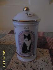 LENOX CATS OF DISTINCTION DILL SPICE JAR, FINE PORCELAIN 1995