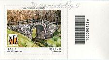 2014 francobollo Via Claudia Augusta DX CODICE A BARRE 1586