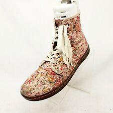 Dr Martens Pink Canvas Floral Comfort Ankle Casual Boots Womens Sz 8 Shoreditch