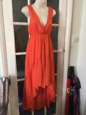 Pussycat London Beautiful Orange Summer Roman Dress Short Front Long Back Size M
